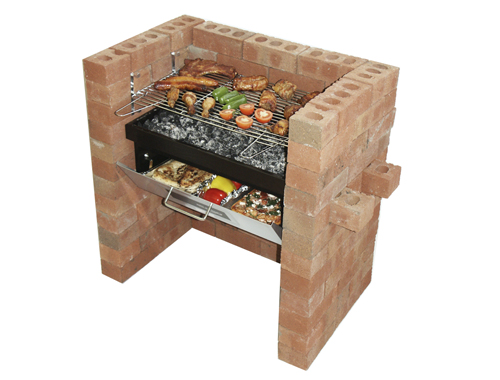 build in grill and bake with bricks and food