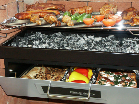 built in barbecue grill and bake with food